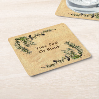 Larch Branches Square Paper Coaster
