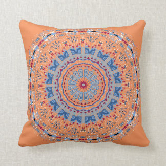 Larchmont Orange and Blue Mandala Pillow