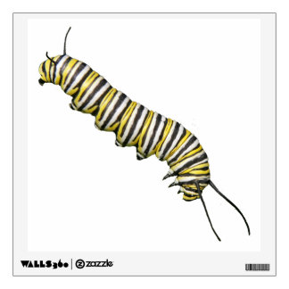 """Large 12"""" Butterfly Decal - Monarch caterpillar"""
