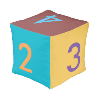 Large 12 inch Multicolor Number Die Dice Pouf