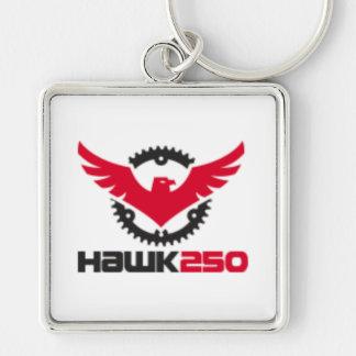 "Large (2.00"") Premium Square Hawk 250 Key-chain Silver-Colored Square Keychain"