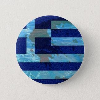 Large, 3 Inch Round Button, Greek flag 2 Inch Round Button
