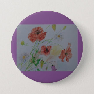 "Large 3"" Round Button with flowers"