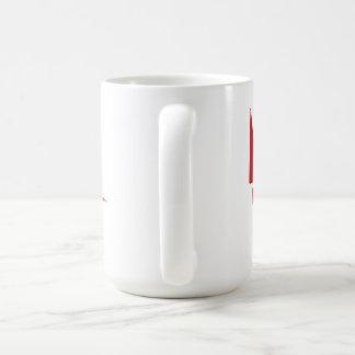 Large 444 ml White Mug with Burgundy logo