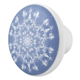 Large Abstract Lacy Snowflake Ceramic Knob