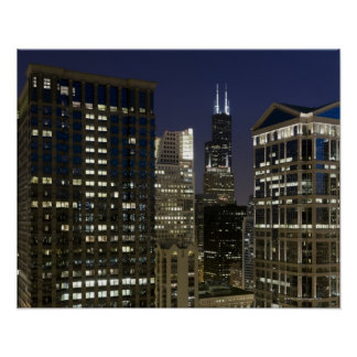 Large aerial view of downtown Chicago at dusk. Poster
