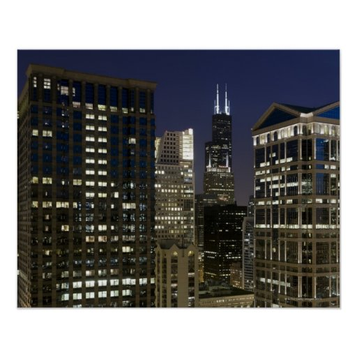 Large aerial view of downtown Chicago at dusk. Posters