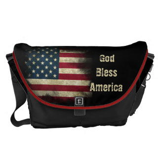 Large aged Patriotic US Flag. God Bless America Courier Bags