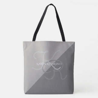 large all-over-printed two-tones gray monogrammed tote bag
