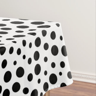 Large and Small Black Polka Dots Pattern on White Tablecloth