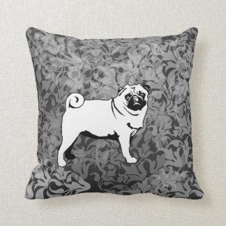 Large and small pug throw pillow