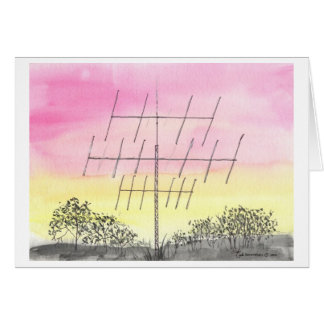 Large Antenna At Sunset Card