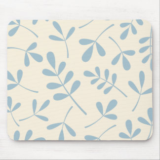 Large Assorted Blue Leaves on Cream Design Mouse Pad