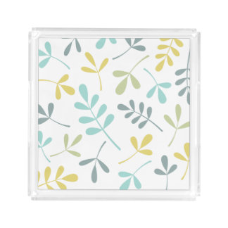 Large Assorted Leaves Color Mix on White Acrylic Tray