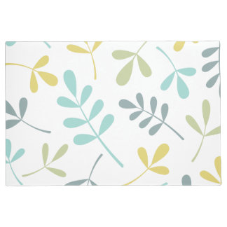 Large Assorted Leaves Color Mix on White Doormat