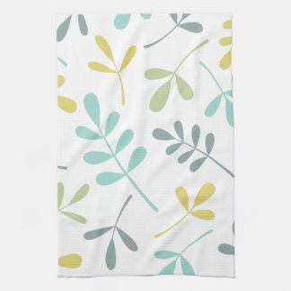 Large Assorted Leaves Color Mix on White Kitchen Towel