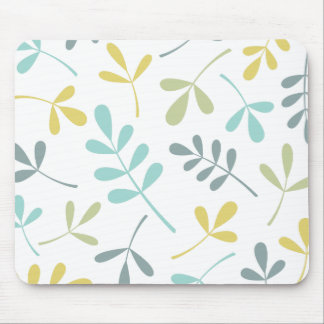 Large Assorted Leaves Color Mix on White Mouse Pad