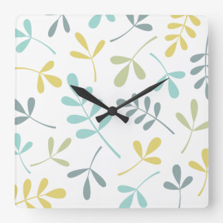 Large Assorted Leaves Color Mix on White Square Wall Clock