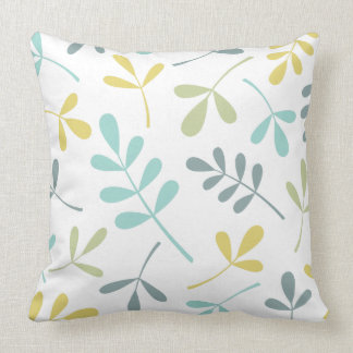 Large Assorted Leaves Color Mix on White Throw Pillow