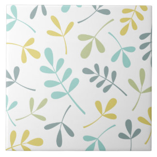 Large Assorted Leaves Color Mix on White Tile