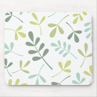 Large Assorted Leaves Green Mix on White Mouse Pad