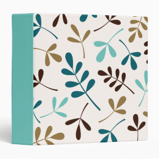 Large Assorted Leaves Teals Gold Brown on Cream Binder