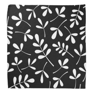 Large Assorted White Leaves on Black Pattern Bandana