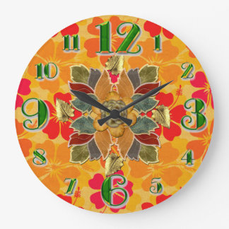 Large Autumn Hibiscus Wall Clock