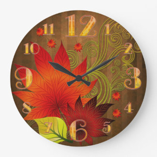 Large  Autumn Leaves Wall Clock