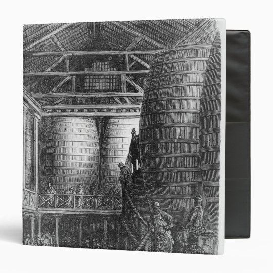 Large barrels in a brewery 3 ring binder
