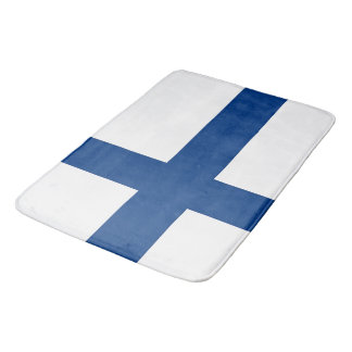 Large bath mat with flag of Finland