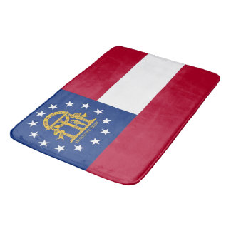 Large bath mat with flag of Georgia, USA
