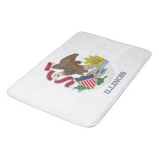 Large bath mat with flag of Illinois, USA
