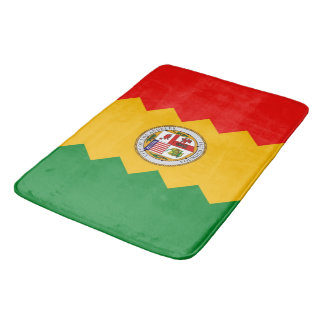 Large bath mat with flag of Los Angeles, USA