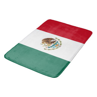 Large bath mat with flag of Mexico