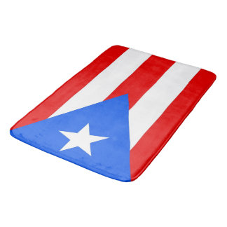 Large bath mat with flag of Puerto Rico, USA