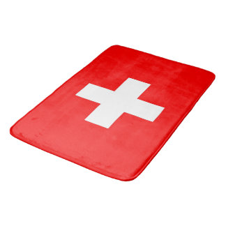 Large bath mat with flag of Switzerland