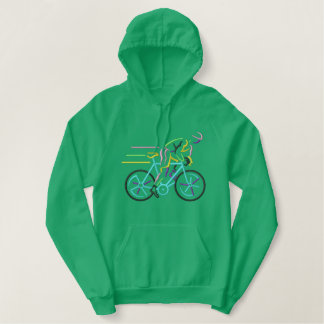 Large Bicyclist Embroidered Hooded Sweatshirt