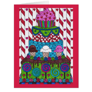 Large Birthday Card - Lollipops and Candy