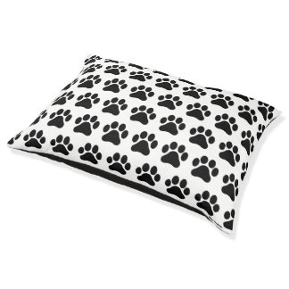 Large Black and White Paw Print Pattern Dog Bed