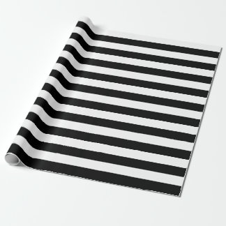 Large Black and White Stripes Wrapping Paper