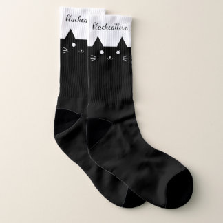 Large Black Cat Love Cute Black Cat Socks 1