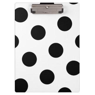 Large Black Polka Dot Pattern - Custom Color White Clipboard