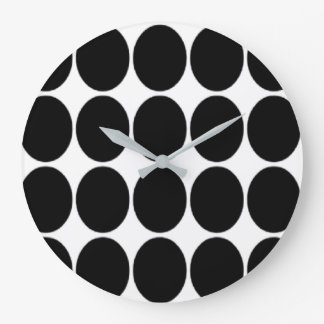 Large Black Polka Dot Print Wallclocks