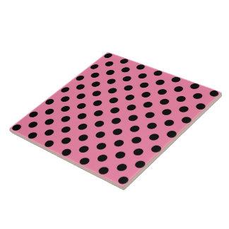 Large Black Polka Dots on hot pink Tiles