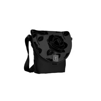 Large Black Rose Pattern on Grey Messenger Bag