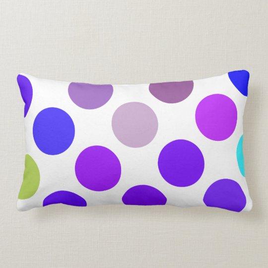 Large Blue And Purple Dots Lumbar Pillow