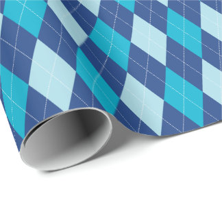 Large Blue Argyle Wrapping Paper