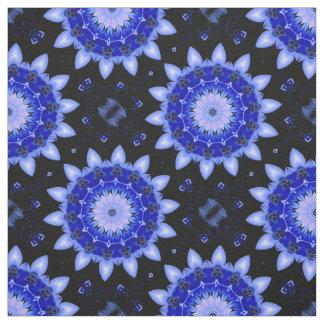 Large Blue Floral Mandala Abstract Print Fabric