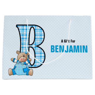 LARGE Blue Letter B for Boys with Teddy Bear Large Gift Bag